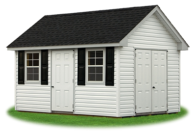 10 x 14 Vinyl Cape Cod Storage Shed - white, grey and charcoal