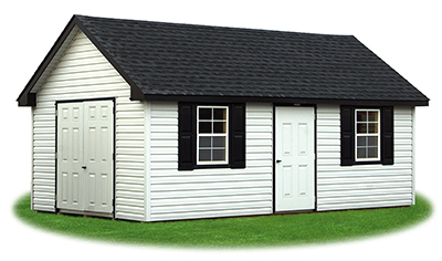 12 x 20 Vinyl Cape Cod Storage Shed - white, black, and charcoal