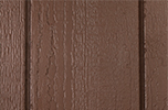 chestnut paint color sample for LP smart panel, duratemp siding, wood trim, wood shutters, wood doors, and wooden flower boxes