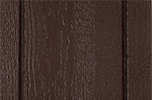 dark brown paint color sample for LP smart panel, duratemp siding, wood trim, wood shutters, wood doors, and wooden flower boxes