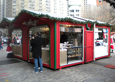 Red and Green Christmas Village Vendor Units