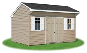 10x14 vinyl sided cottage style storage shed from Pine Creek Structures