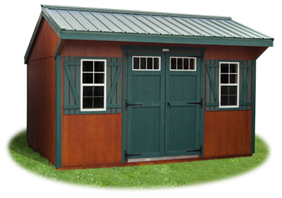 Cottage style storage shed with new redwood polyurethane from Pine Creek Structures