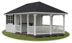 Custom Hip Style Vinyl Shed from Pine Creek Structures