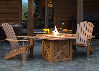 "30"" Fire Table and Adirondack Chairs on Timber Porch"