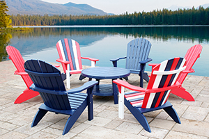 Six Poly Adirondack Chairs and a Conversation Table in Bright Red, Patriot Blue, and/or White