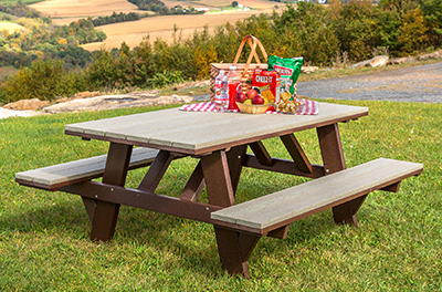 Poly Picnic Table with Attached Benches in Milwaukee Brown and Weatherwood