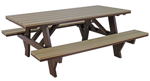 Pine Creek Structures Outdoor Patio Furniture - Poly Picnic Table With Attached Benches