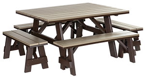 Pine Creek Structures Outdoor Patio Furniture - Poly Picnic Table & Separate Benches