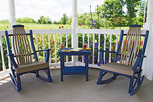 Two Bent Poly Rockers and a Captain Table in Patriot Blue and Weatherwood