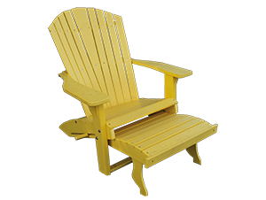 Pine Creek Structures Outdoor Patio Furniture - Poly Adirondack Chair with Pullout Ottoman