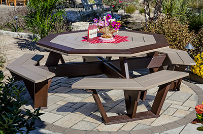 Poly Octagon Picnic Table with Attached Benches in Milwaukee Brown and Weatherwood