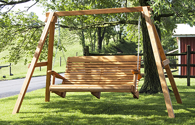 5' Wooden Contoured Swing and Wooden A-Frame