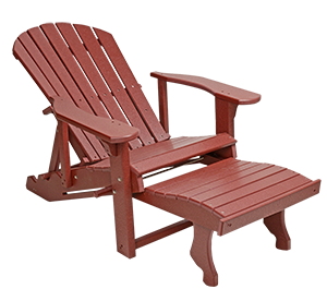 Pine Creek Structures Outdoor Patio Furniture - Poly Lounge Adirondack Chair with Pullout Ottoman