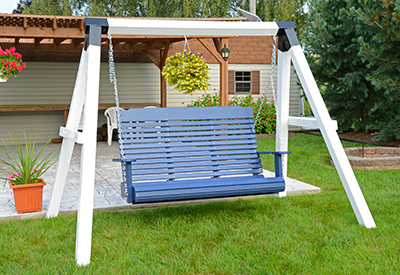 Poly Contoured Swing in Patriot Blue and a Vinyl Sleeved A-Frame