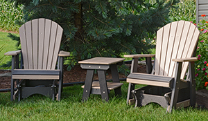 Two Poly 2' Fanback Gliders and a Two Tier Table in Black and Weather Wood