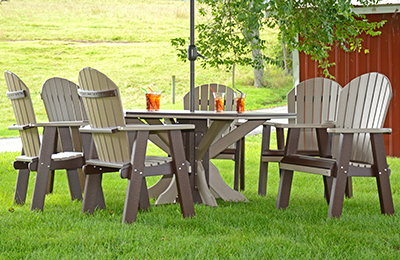 """Poly 54"""" Hexagon Dining Table with Six Fanback Dining Chairs in Weather Wood and Milwaukee Brown"""