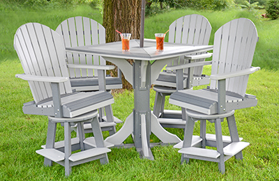"""Poly 40"""" Square Pub Table with Four Swivel Fanback Pub Chairs in Light Grey and Dark Grey"""