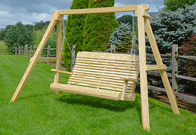 Wooden Contoured Swing and Wooden A-Frame