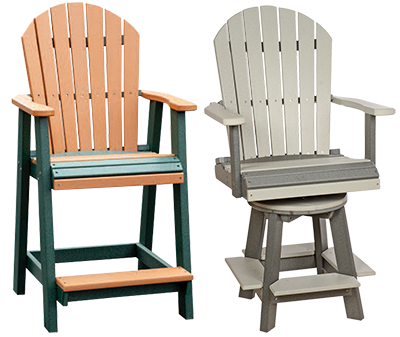 Pine Creek Structures Outdoor Patio Furniture - Fanback Pub Chairs