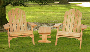 Two Wooden Folding Adirondack Chairs and a Wooden Small End Table