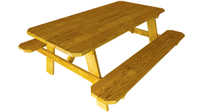 Pine Creek Structures Outdoor Patio Furniture - Wooden Picnic Table With Attached Benches