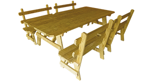 Pine Creek Structures Outdoor Patio Furniture - Wooden Picnic Table & Separate Benches with Backs