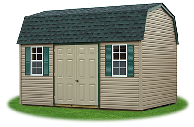 10 x14 Gambrel Barn with clay vinyl siding and green trim