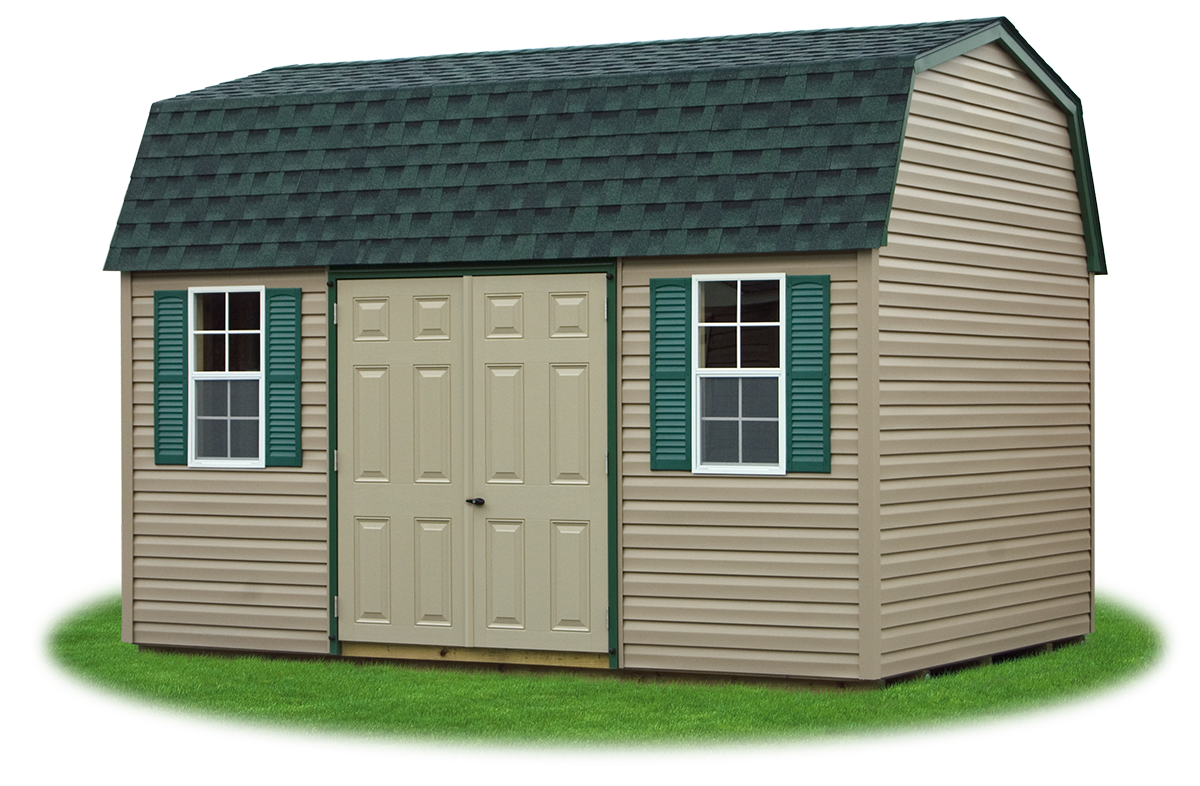 gambrel barns pine creek structures 10 x14 gambrel barn with clay vinyl siding and green trim