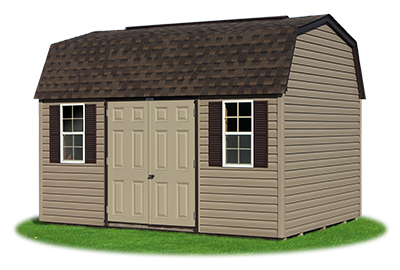 10 x14 Gambrel Barn with clay vinyl siding and brown trim