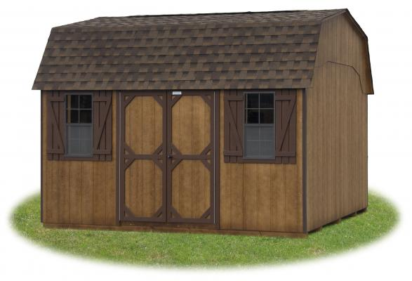 10x14 dutch gambrel barn with new coffee brown polyurethane from Pine Creek Structures