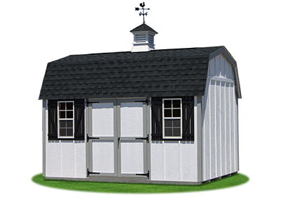 10 x14 Gambrel Barn with white LP board and batten siding and cupola with weathervane