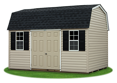 10 x14 Gambrel Barn with warm sandalwood vinyl siding and charcoal shingle roof