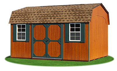 12x16 Gambrel Barn with rustic cedar LP Smart Side