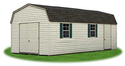 12x24 Gambrel Barn with classic sand vinyl siding