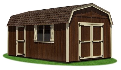 12x20 Gambrel Barn with coffee brown LP Board N Batten