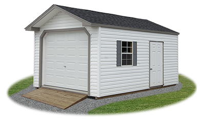 peak style single car garage with vinyl siding