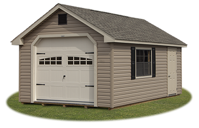 cape cod style single car garage with vinyl siding