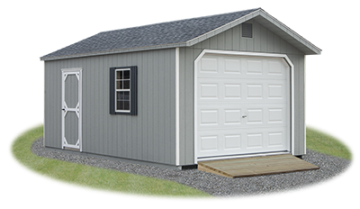 peak style single car garage with lp smart side siding