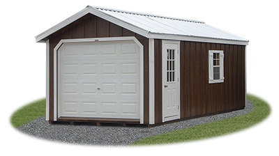 peak style single car garage with LP Board 'N' Batten siding