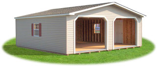 Double Wide, two car vinyl sided garage from Pine Creek Structures