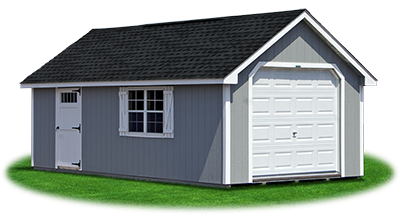 cape cod style single car garage with LP siding