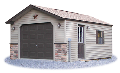 Custom Peak Style garage with vinyl siding