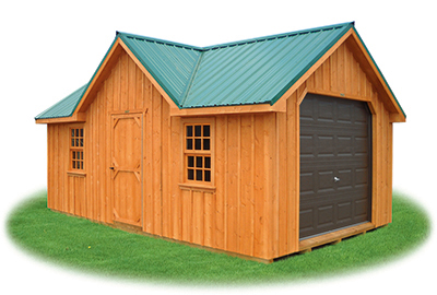custom victorian style single car garage with rustic board 'n' batten siding