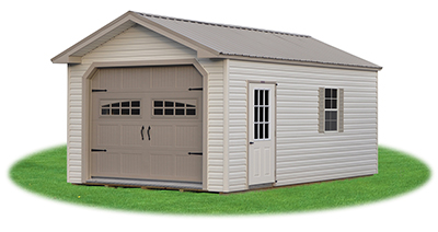 custom style single car garage with vinyl siding