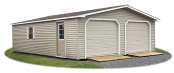 Double Wide, two car  modular vinyl sided garage from Pine Creek Structures