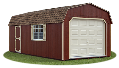 gambrel style single car garage with lp siding