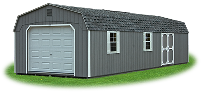 gambrel style garage with LP siding
