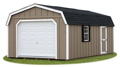 gambrel style single car garage with LP Board 'N' Batten siding