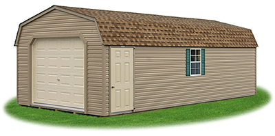 gambrel style single car garage with vinyl siding